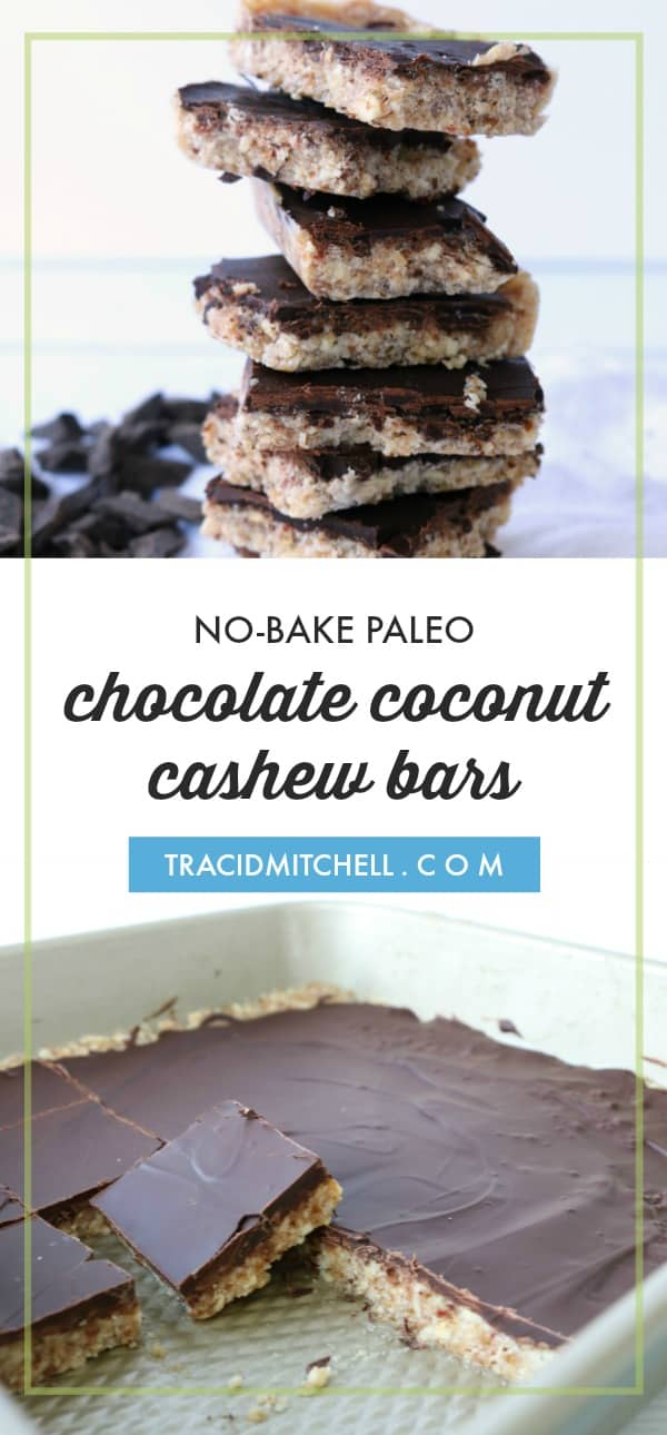 no bake paleo chocolate coconut cashew bars