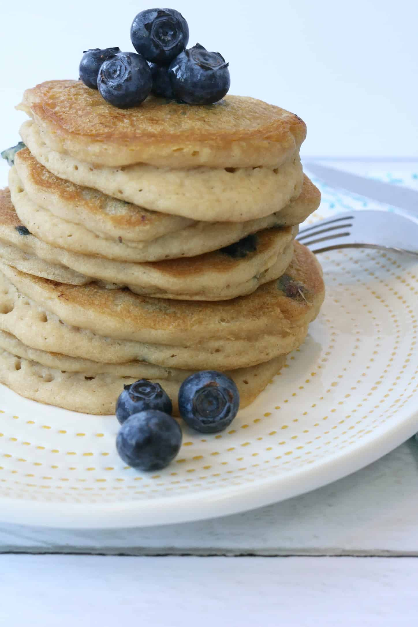 The Best Fluffy Blueberry Pancake Recipe (gluten free + dairy free)