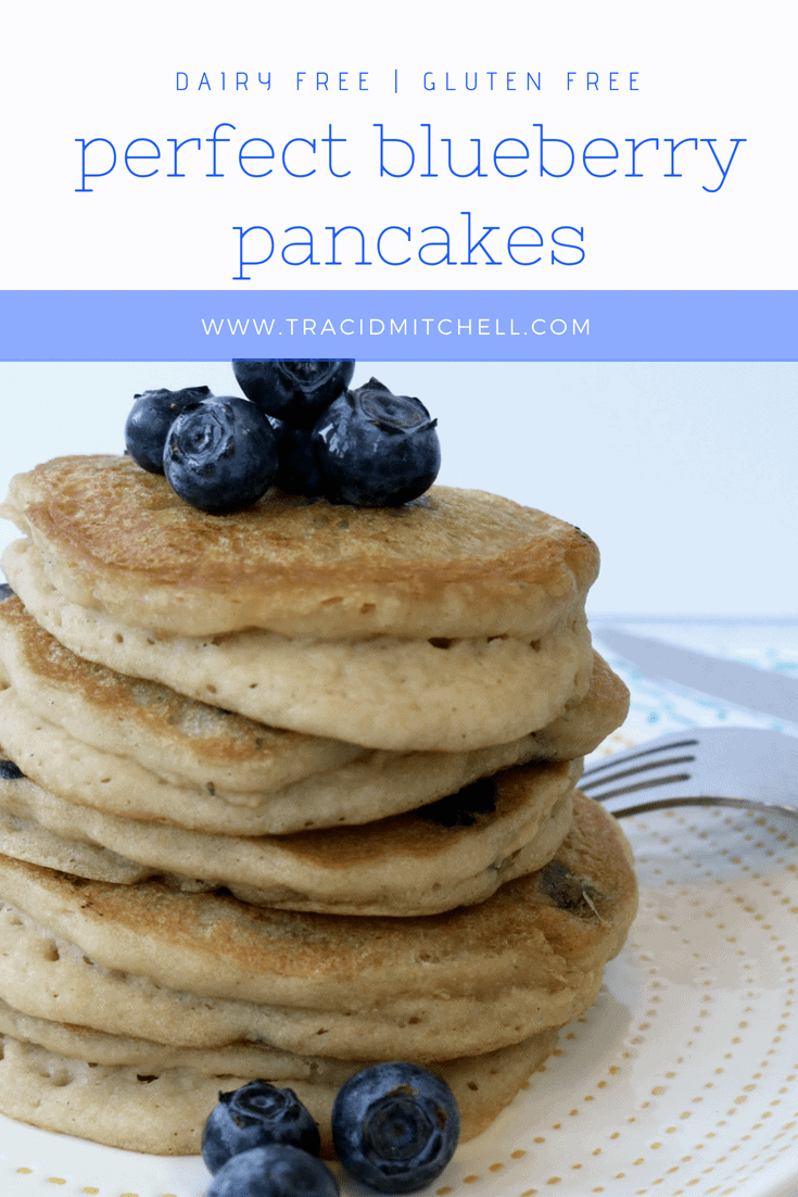 Gluten free dairy free fluffy blueberry pancakes