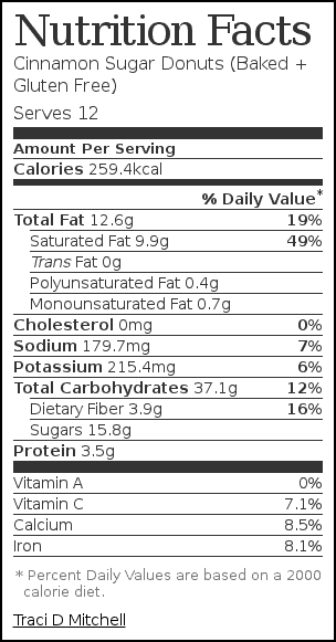 Nutrition label for Cinnamon Sugar Donuts (Baked + Gluten Free)