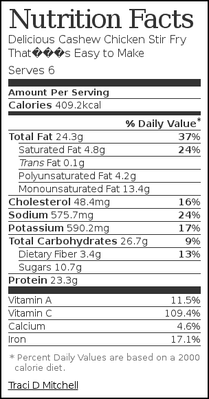 Nutrition label for Delicious Cashew Chicken Stir Fry That's Easy to Make