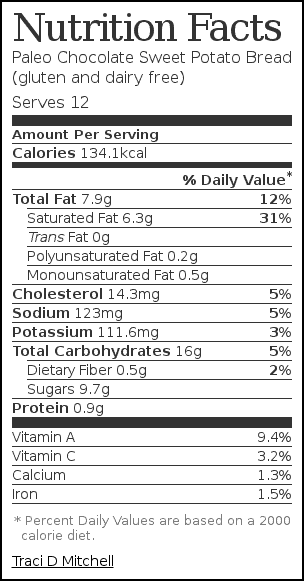 Nutrition label for Paleo Chocolate Sweet Potato Bread (gluten and dairy free)