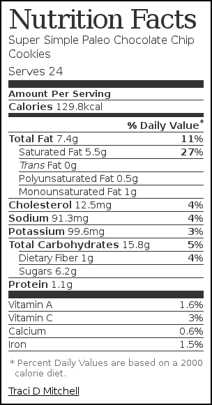 Nutrition label for Super Simple Paleo Chocolate Chip Cookies